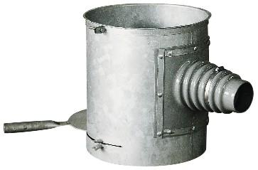 Schneckenkasten 40 cm ø in feuerverzinkter Ausführung mit Absperrschieber, Spannband und flexibler Anschlussmanschette.